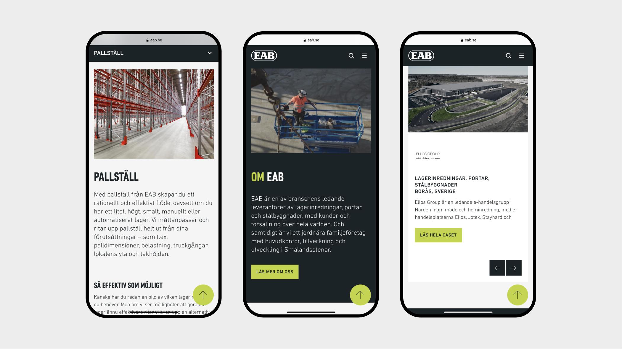 EAB webbplats mobil