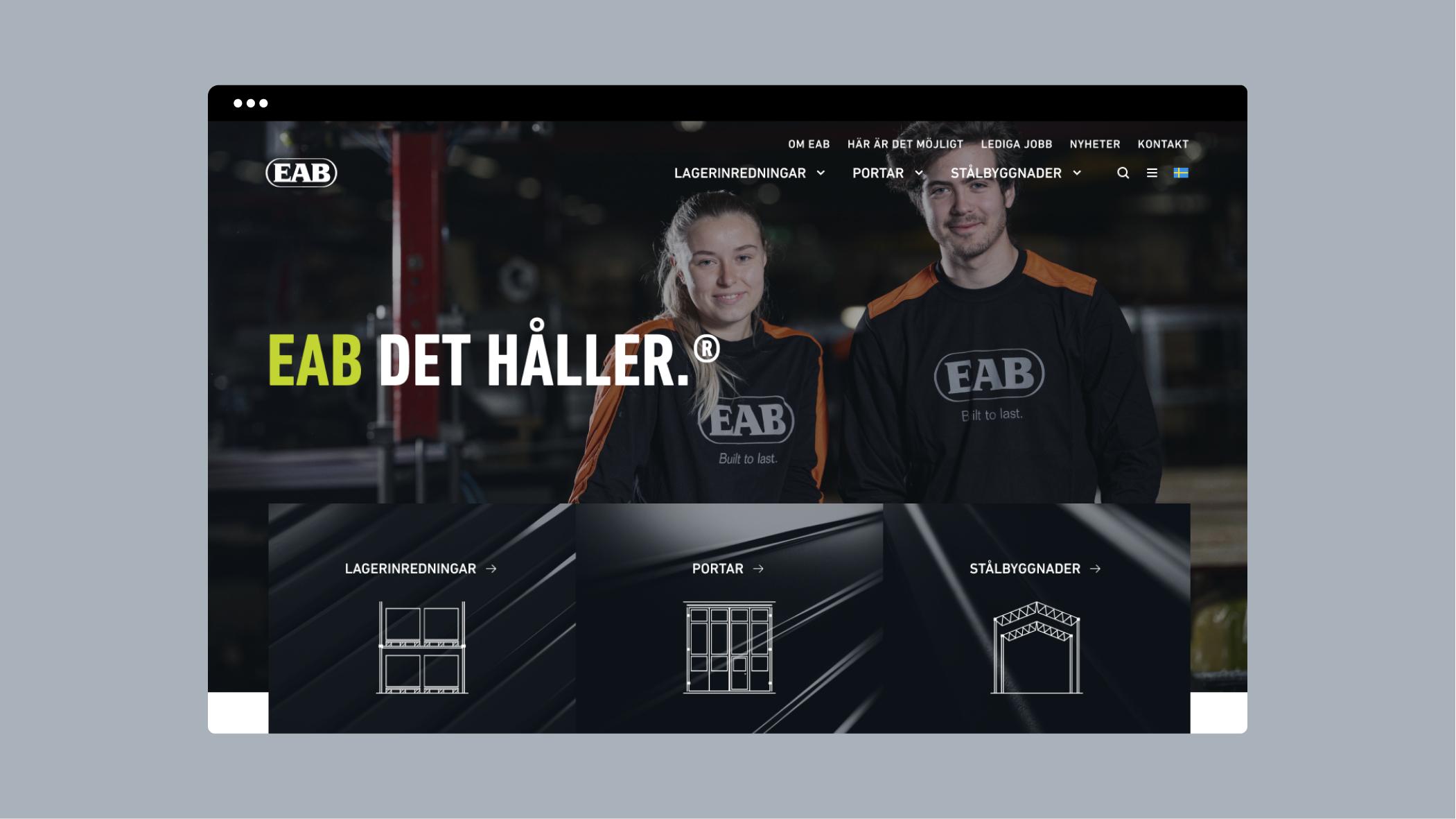 EAB webbplats desktop